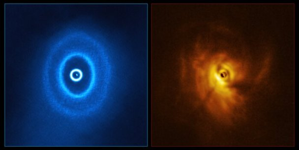 ALMA and SPHERE view of GW Orionis (side-by-side)