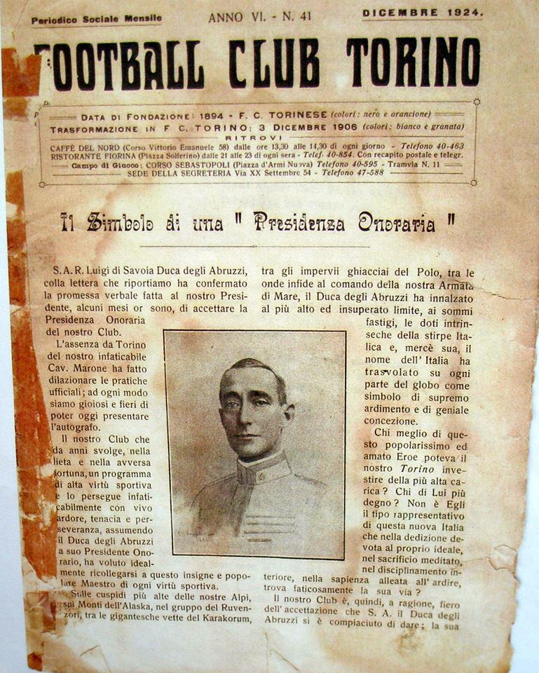 Artigo de 1924 dizia que a fundação do Torino foi em 1894