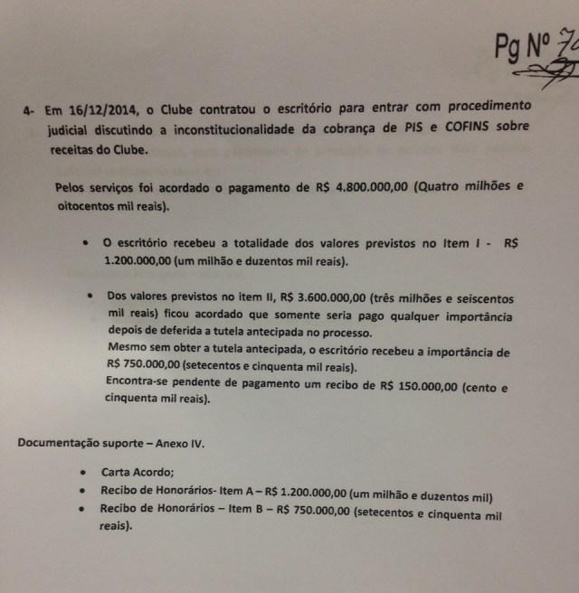 Quarto pagamento feito pelo SPFC a Cortez