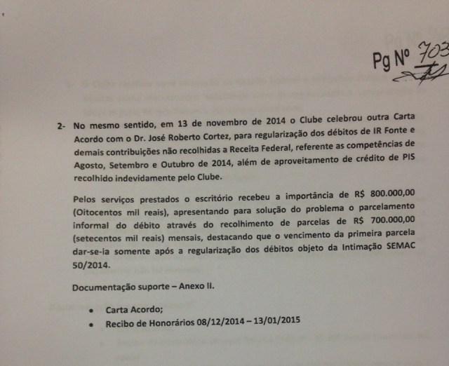 Segundo pagamento feito pelo SPFC a Cortez
