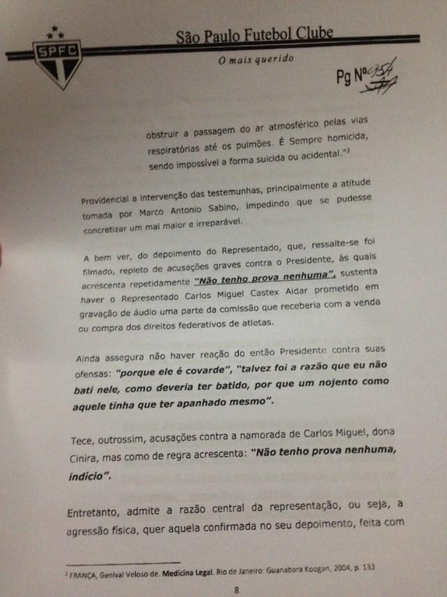 Quarta parte do Parecer da Comissão de Ética do São Paulo sobre Ataíde
