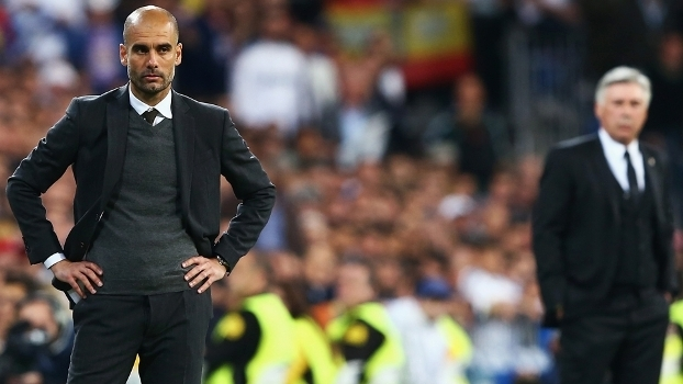 Guardiola, presente do Bayern, e Ancelotti, futuro do clube alemão