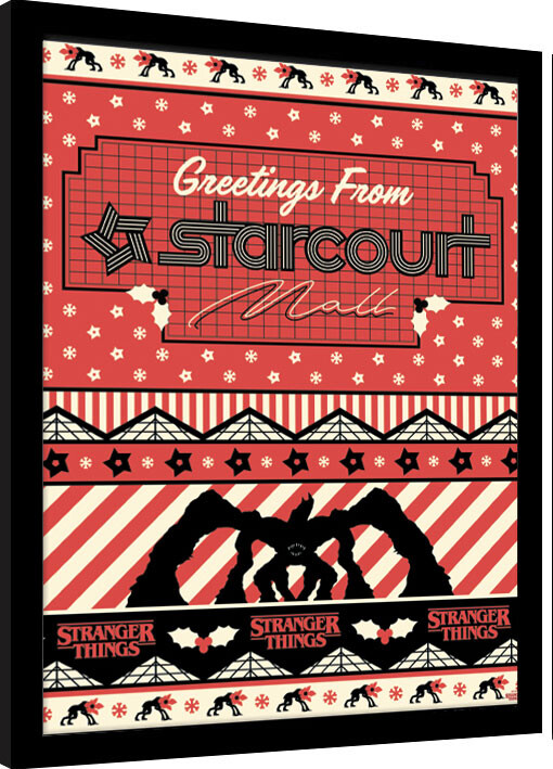 stranger things greetings from starcourt mall framed poster buy at europosters
