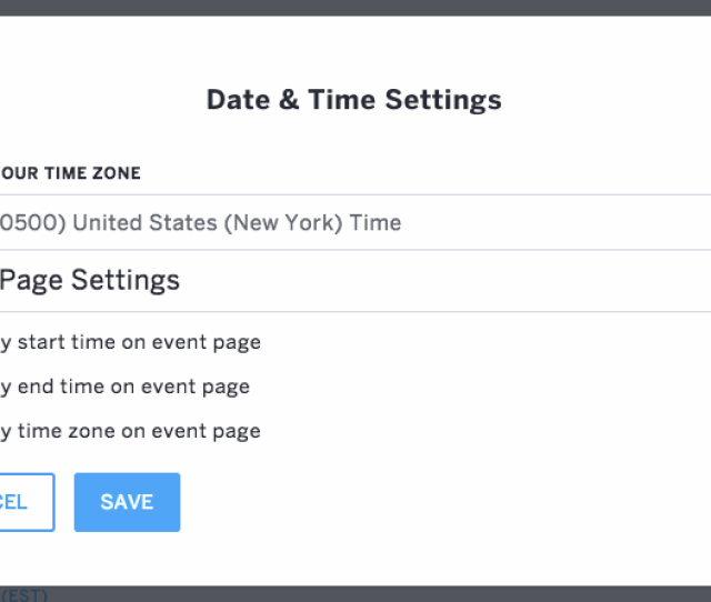 Event Page Settings Is The Second Section In The Date Time Settings Window