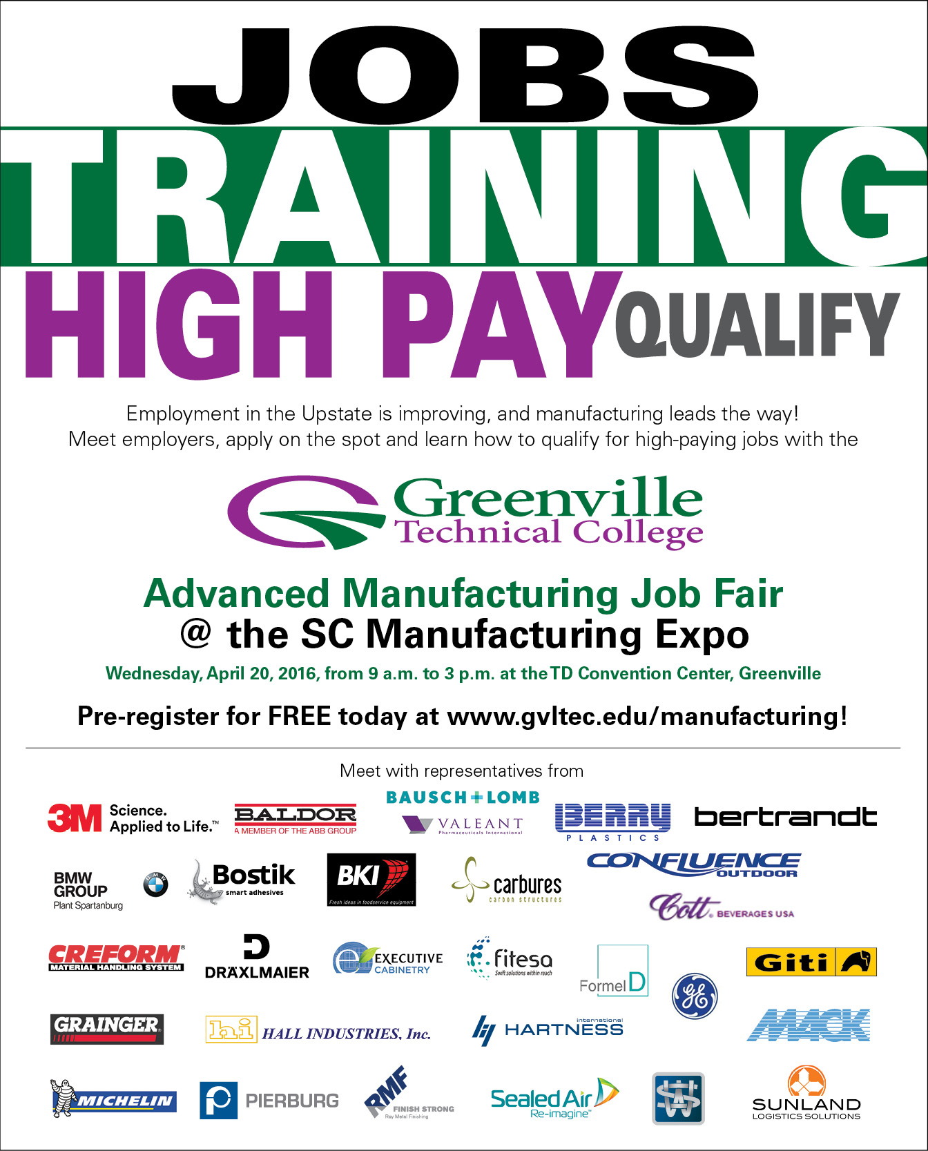 2016 greenville technical college advanced manufacturing job fair