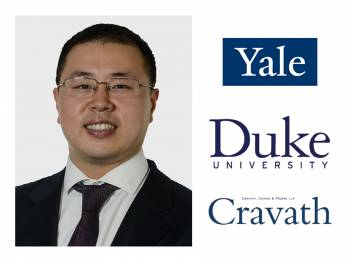 Timothy Y. Shih with Yale University logo, Duke University logo, and Cravath, Swine & Moore LLP logo.