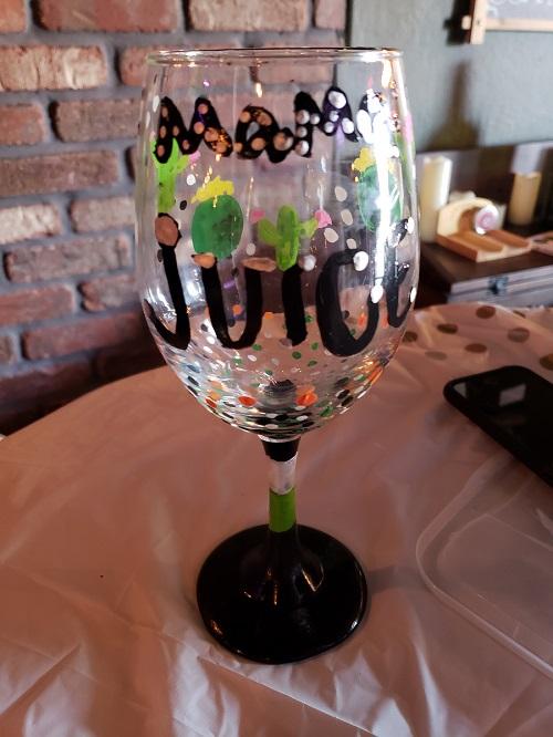 mama juice wine glass