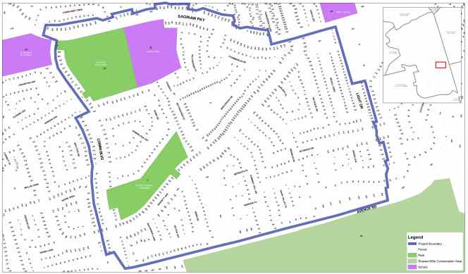 The neighbourhood for the project includes an area bordered on the north by Saginaw Parkway and includes the area surrounding the stormwater pond and golf course. The southern boundaries of the area will include Avenue Road, the western boundary is Cowan Boulevard, and the eastern boundary is Light Drive