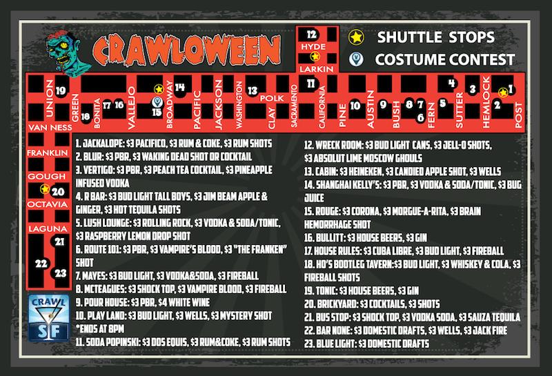 San Francisco Halloween Pub Crawl Map