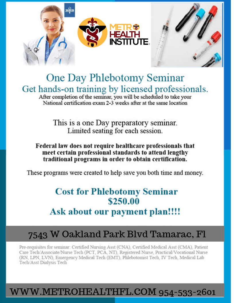 Fast Track National Phlebotomy Certification 1 Day Bootcamp