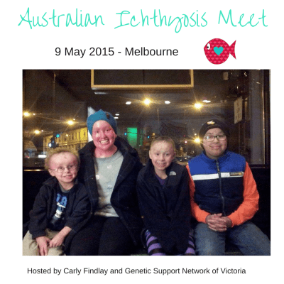 Carly Findlay with Children affected by Ichthyosis