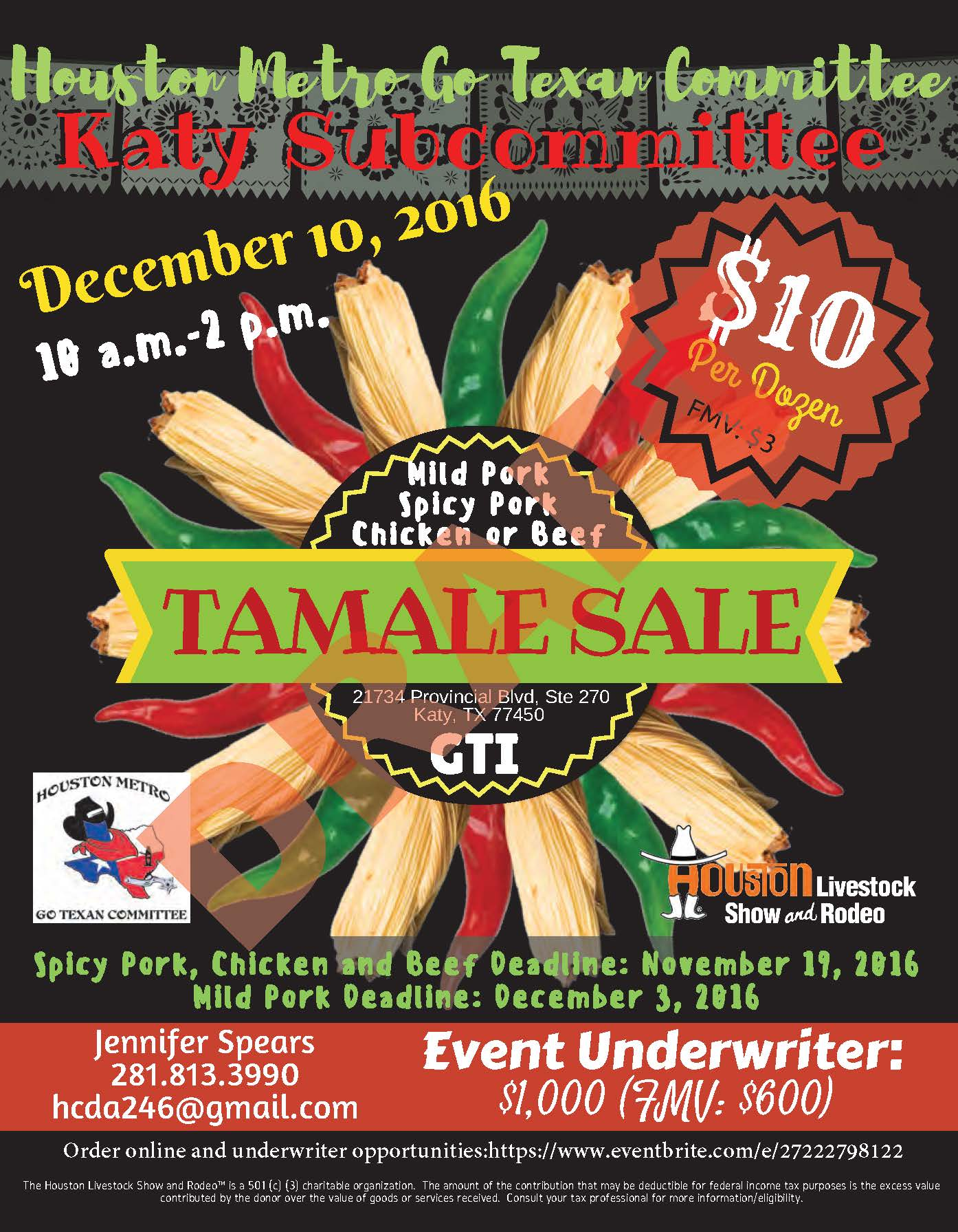Katy Tamale Sale Tickets Sat Dec 10 At 10 00 Am