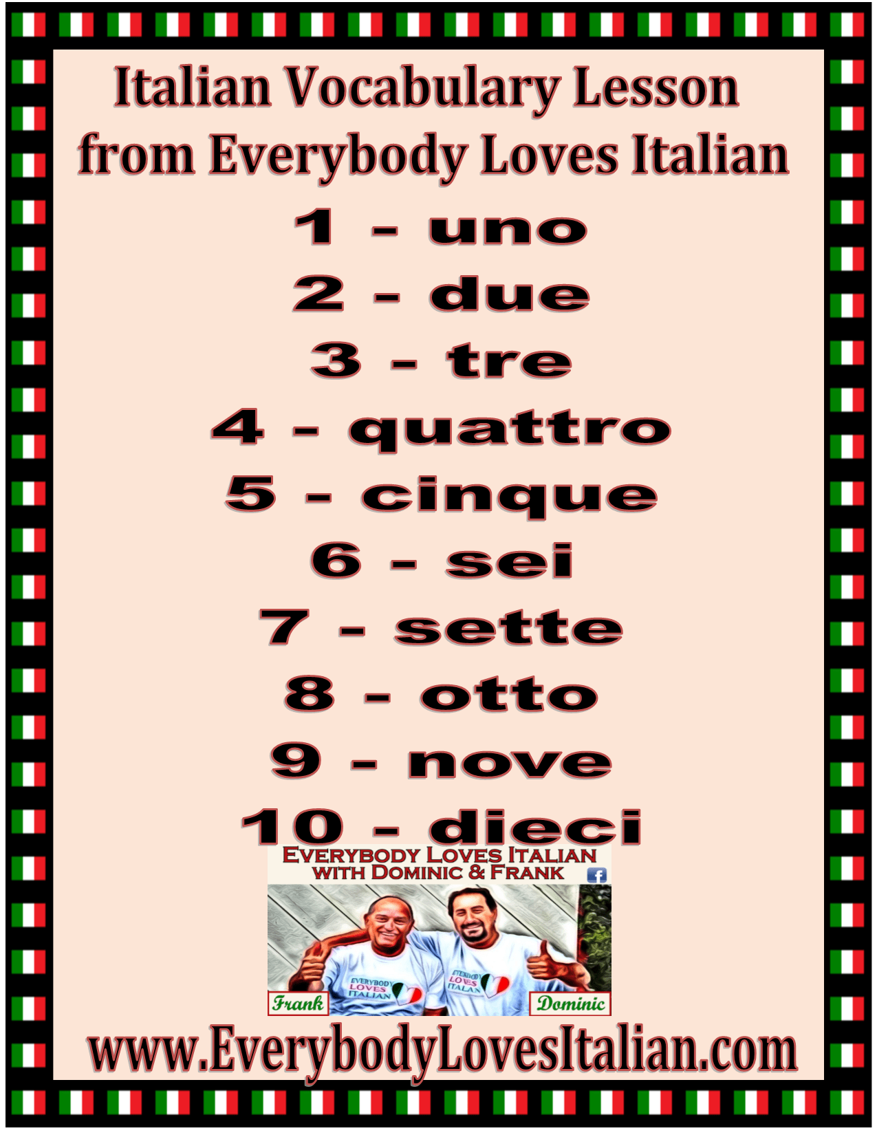 Italian Vocabulary Lesson Numbers 1 10