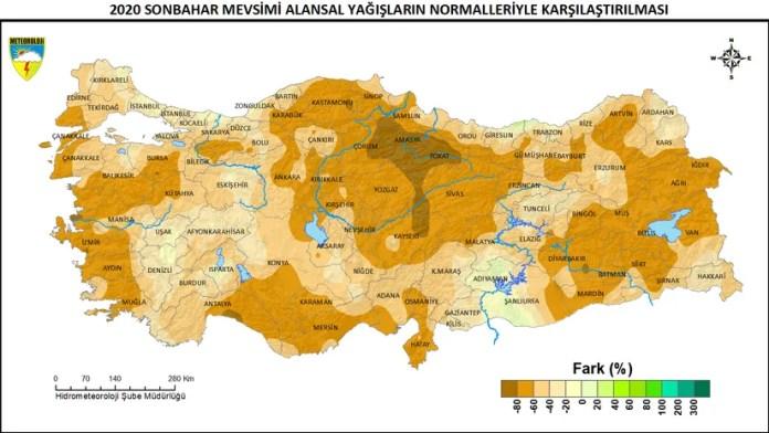 2020 Sonbahar Mevsimi Alansal Yağışların Normalleriyle Karşılaştırılması