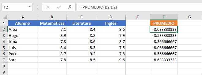 Varias funciones en Excel