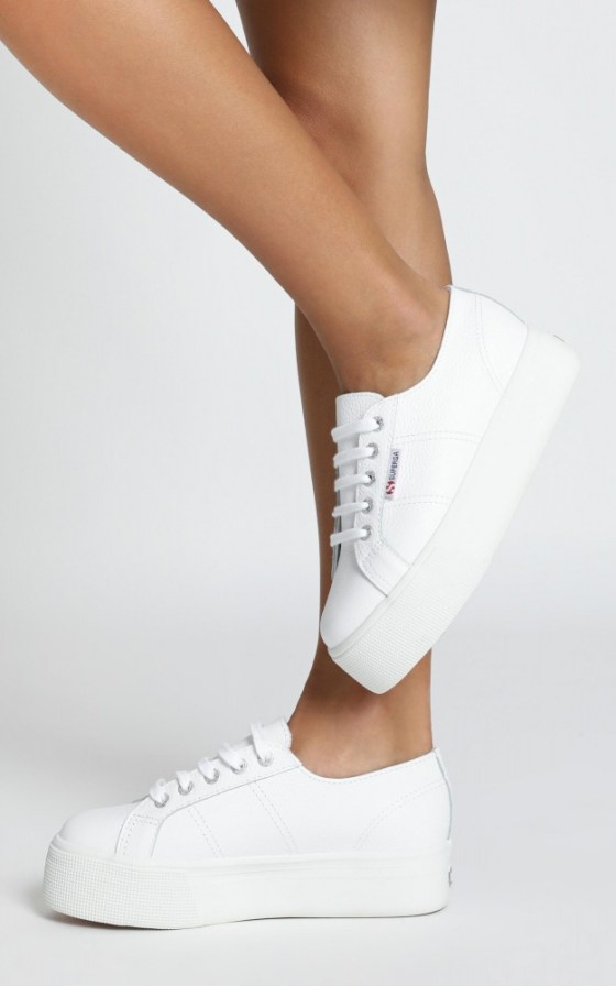 Superga - 2790 FGLW Platform Sneakers In White Leather 2