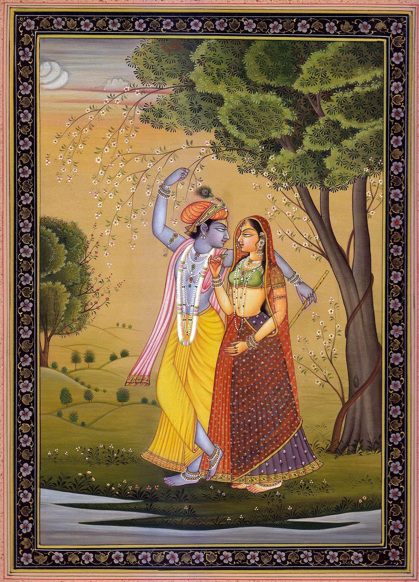 Radha Offering Betel Leaf To Krishna