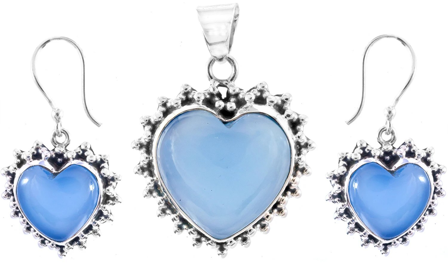 Blue Chalcedony Heart Shape Pendant With Matching Earrings Set