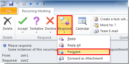 In Outlook 2007 Just Click The Forward On Under Recurring Meeting Or Tab