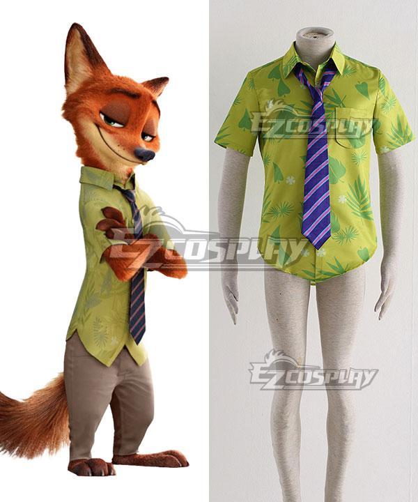 Disney Zootopia Nicholas P.Wilde Fox Nick Cosplay Costume - Only Shirt, Tie