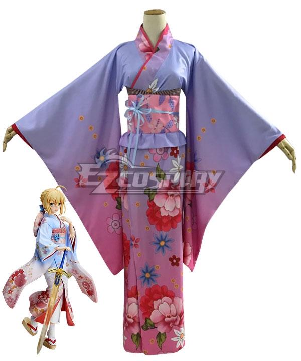 Fate Stay Night Saber Artoria Pendragon Kimono Cosplay Costume