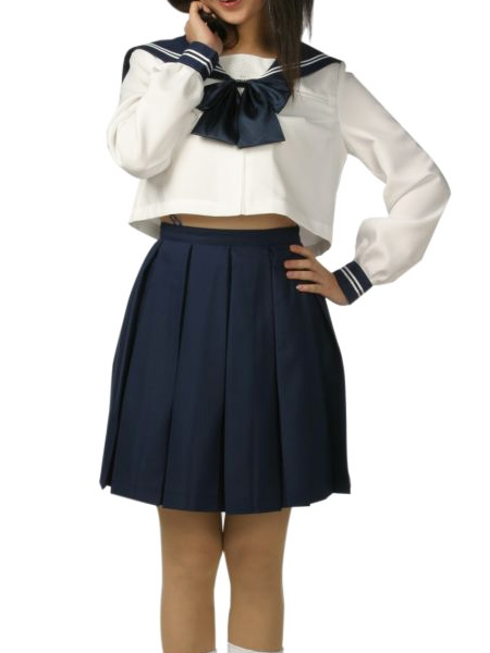 High waisted Short Sleeves Blue Skirt School Uniform Cosplay Costume