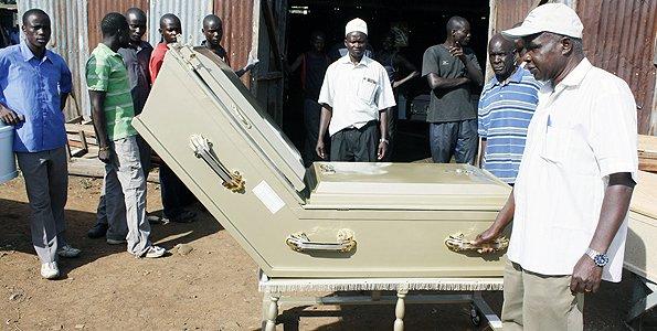 Nabongo Japheth Wambani Rapando's coffin. [Photo: Daily Nation]