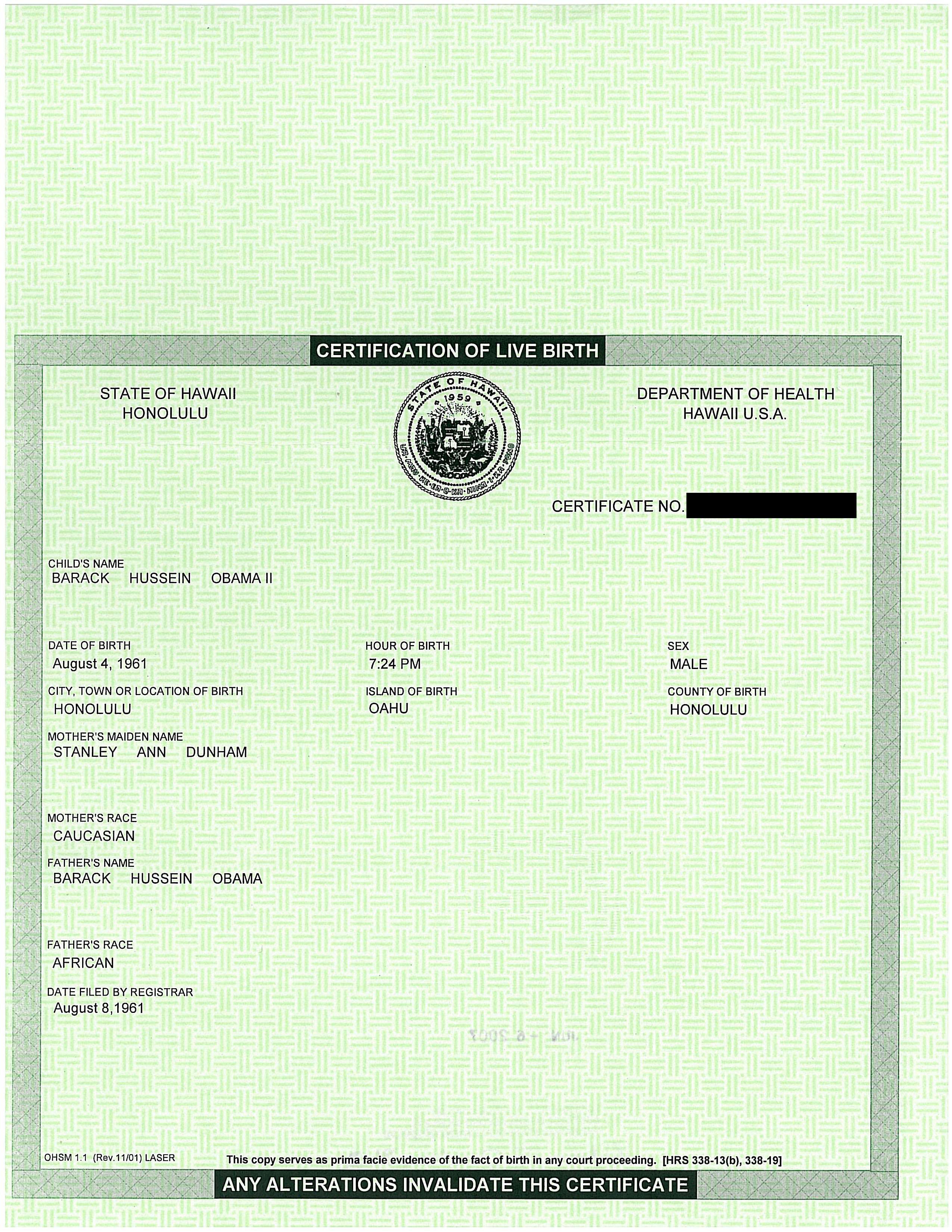 Obama S Birth Certificate