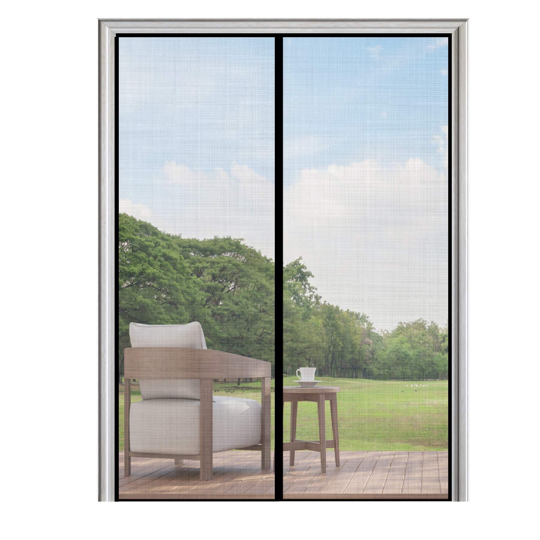 80 magnetic mesh curtain front double w