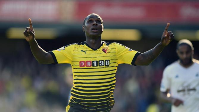 Watford's Odion Ighalo celebrates scoring his side's first goal of the game during their English Premier League soccer match against Swansea City at Vicarage Road, London