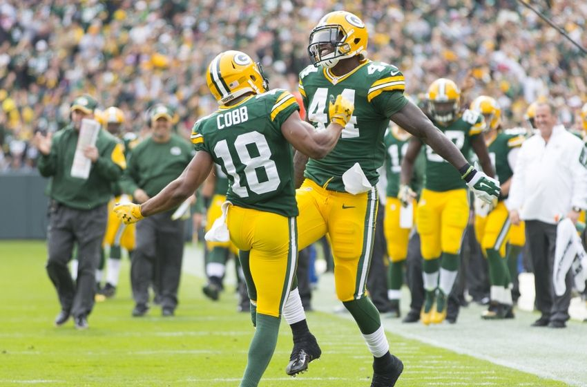 Randall Cobb and James Starks of the Green Bay Packers