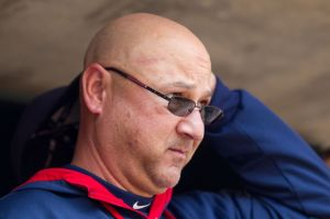 Sep 21, 2014; Minneapolis, MN, USA; Cleveland Indians manager Terry Francona in the dugout against the Minnesota Twins at Target Field. Mandatory Credit: Brad Rempel-USA TODAY Sports