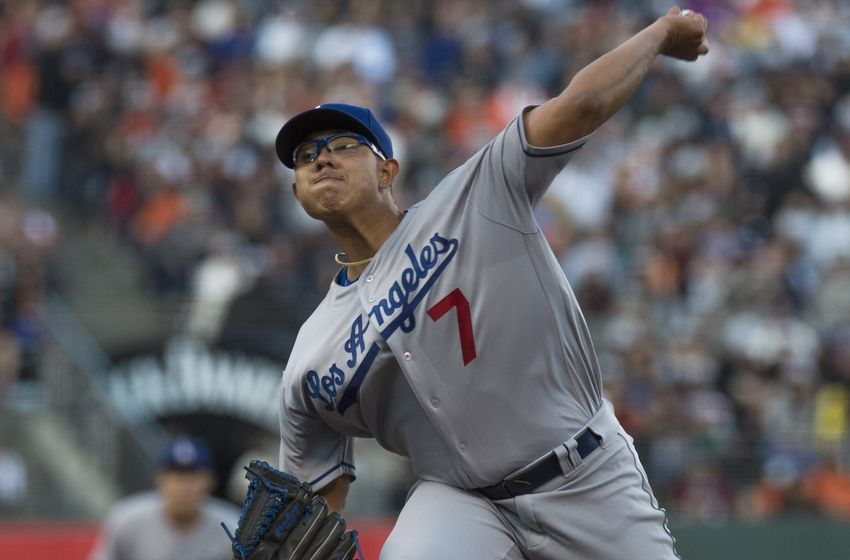 Jun 12, 2016; San Francisco, CA, USA; Los Angeles Dodgers starting pitcher Julio Urias (7) throws a pitch during the fifth inning against the San Francisco Giants at AT&T Park. Mandatory Credit: Kenny Karst-USA TODAY Sports