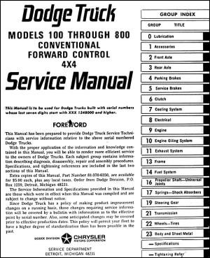 1966 Dodge 100800 Pickup and Truck Repair Shop Manual Reprint