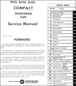 19711972 Dodge Van Repair Shop Manual B100 B200 B300 and