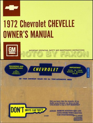 1972 Chevelle Wiring Diagram Manual Reprint Malibu, SS, El