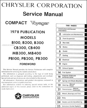 1978 Dodge Van Repair Shop Manual Sportsman Tradesman