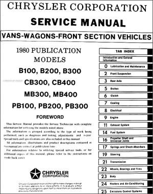 1980 Dodge & Plymouth Van Repair Shop Manual Original