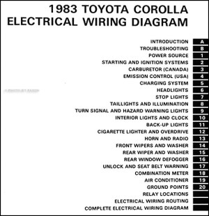 1983 Toyota Corolla Wiring Diagram Manual Original