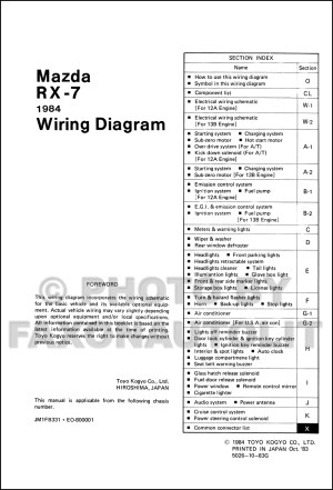 1984 Mazda RX7 Wiring Diagram Manual Original RX7