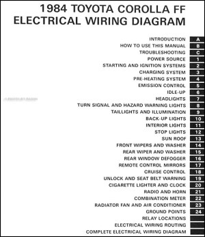 1984 Toyota Corolla FWD Wiring Diagram Manual Original