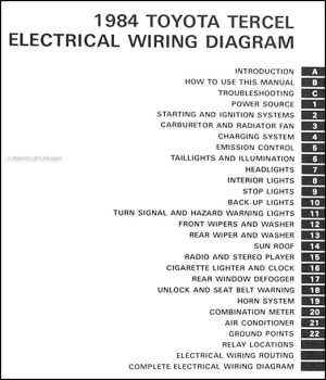 1984 Toyota Tercel Wiring Diagram Manual Original