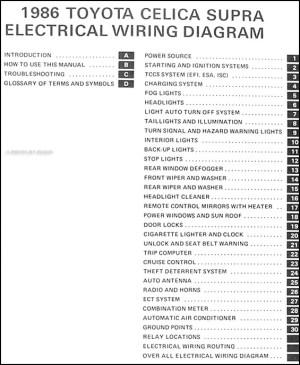 1986 Toyota Celica Supra Wiring Diagram Manual Original