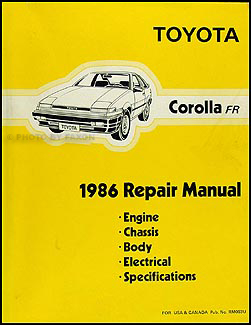1986 Toyota Corolla RWD Wiring Diagram Manual Original GT
