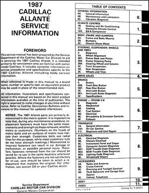 1987 Cadillac Allante Repair Shop Manual Original