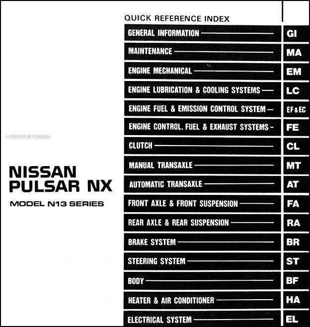 diagram 199nissan pulsar nx wiring diagram manual original