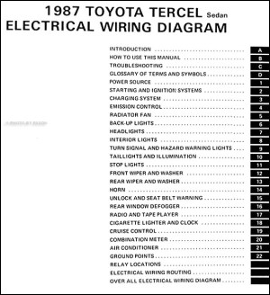 1987 Toyota Tercel Sedan Wiring Diagram Manual Original