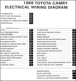 1988 Toyota Camry Wiring Diagram Manual Original
