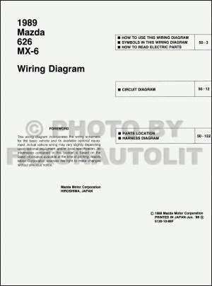 1989 Mazda 626 and MX6 Wiring Diagram Manual Original