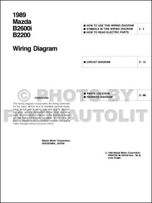 1989 Mazda B2600i B2200 Pickup Truck Wiring Diagram Manual